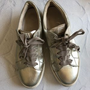 AGL Metallic Pearl Embellished Flatform Sneakers